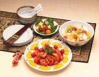 エビチリと杏仁豆腐