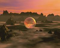 地形と球のCGイメージ