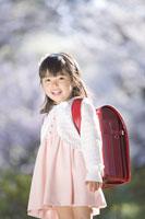 桜の前の新入学の女の子
