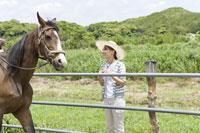 馬を見ている女性