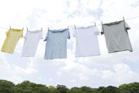 空の下に干された五枚のTシャツ 28174010662| 写真素材・ストックフォト・画像・イラスト素材|アマナイメージズ