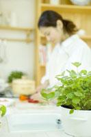ワイルドストロベリーのあるキッチンで料理をする女性