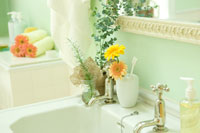 ユーカリとシッシングハーストローズマリーを飾った洗面所