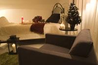 クリスマスタイムの寝室