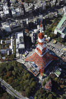 東京タワー周辺の空撮
