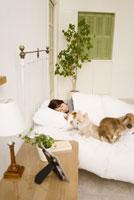 ベッドで眠る女性と犬