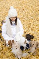 落ち葉の上に座る女性と犬