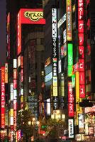 ネオンの灯る歌舞伎町周辺の夕景