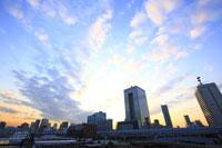 日の出桟橋周辺の夕焼け空