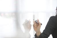 ホワイトボードに書くビジネス女性の手