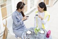 コーヒーカップを手に会話する2人の女性