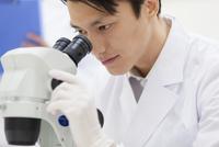 顕微鏡を覗く男性研究員
