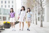 キャンパスを並んで話しながら歩く女子学生たち