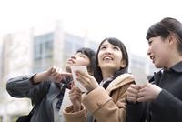 受験番号票を手に番号を確認している女子高校生たち 33000002324| 写真素材・ストックフォト・画像・イラスト素材|アマナイメージズ