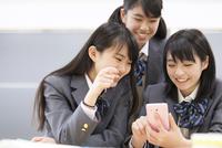 教室でスマートフォンを見て微笑む3人の女子高校生