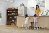 キッチンで料理の準備をする親子