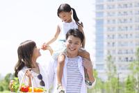 肩車して遊歩道を歩く家族 33000003793| 写真素材・ストックフォト・画像・イラスト素材|アマナイメージズ