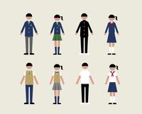 人物(いろいろな学生服)