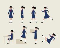 セーラー服の女子(いろいろな行動)
