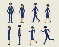 警官(歩く・走る・横)
