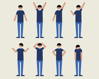 半袖の成人男性(いろいろな感情)