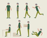 半袖のシニア男性(いろいろな行動)