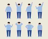 肥満の男性(いろいろな感情)