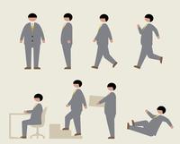 肥満のビジネスマン(いろいろな行動)