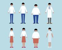 肥満・やせ形・普通体型の男女、医者と看護師