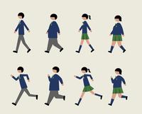ブレザー服の学生(歩く・走る)