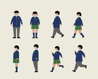 肥満の学生(歩く・走る・横)