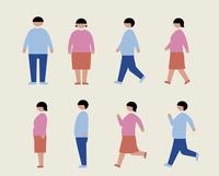 肥満の男女(歩く・走る・横) 60000000225| 写真素材・ストックフォト・画像・イラスト素材|アマナイメージズ
