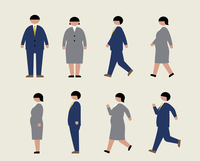 肥満のビジネスマン(歩く・走る・横)