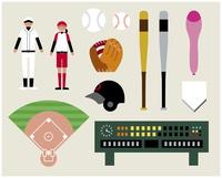 野球ソフトボールセット 60000000279| 写真素材・ストックフォト・画像・イラスト素材|アマナイメージズ