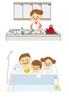 家族 お風呂と皿洗い