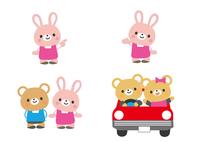 ドライブをするクマ君とウサギさん