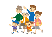 家族3世代おでかけ 歩く