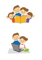パソコン、パンフレットを囲む家族