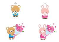 お辞儀と花束 クマ君とウサギさん 60002000051| 写真素材・ストックフォト・画像・イラスト素材|アマナイメージズ