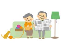 ソファーにすわる高齢者夫婦