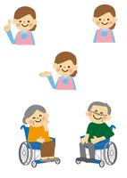 車椅子の高齢者と介護士