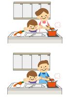 お料理をする男性と女性