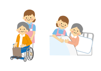介護 高齢女性と介護士