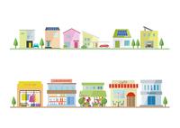 商店街と住宅 60003000025| 写真素材・ストックフォト・画像・イラスト素材|アマナイメージズ