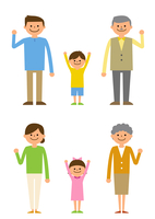 喜ぶ三世代家族