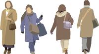 冬のコート(女性-4人)