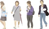 春の女性(4人)