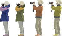 バードウォッチング女性(2×2)望遠カメラ・アウトドア・ジャケット