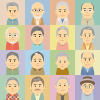 シニア男性の集合イラスト
