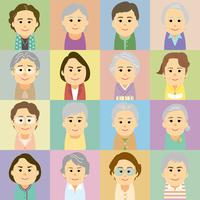 シニア女性の集合イラスト